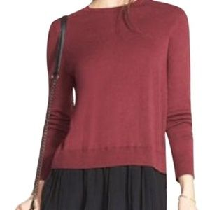 Chelsea 28 Split Back Pleated Burgundy Sweater